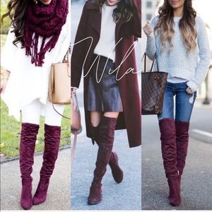 Shoes - Burgundy suede over the knee boots maroon tall